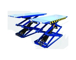 3TON DOUBLE SCISSORS LIFT LOW PROFILE SMALL PLATFORM WITH EXTENSION BLUE 415/3/50